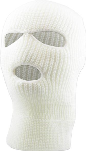 Three Hole Knit Ski Mask   - WHITE 3061W