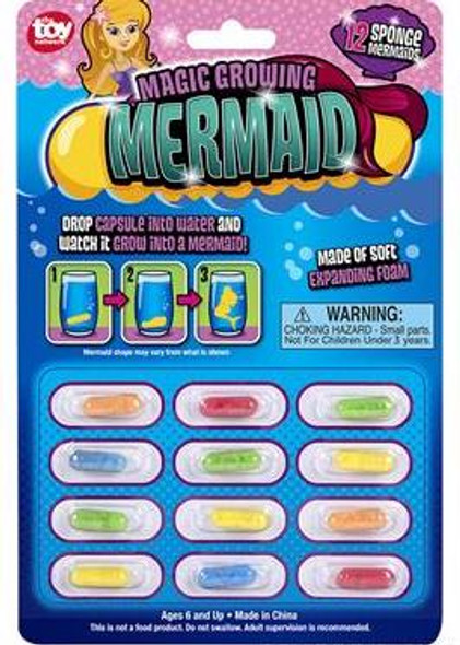12 PACK CARDED MAGIC GROWING MERMAID CAPSULES M2009