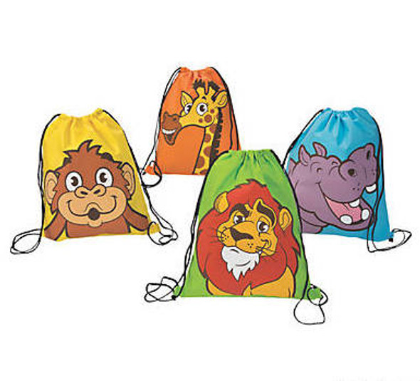 Polyester Zoo Adventure Drawstring Bags 12 PACK 38440