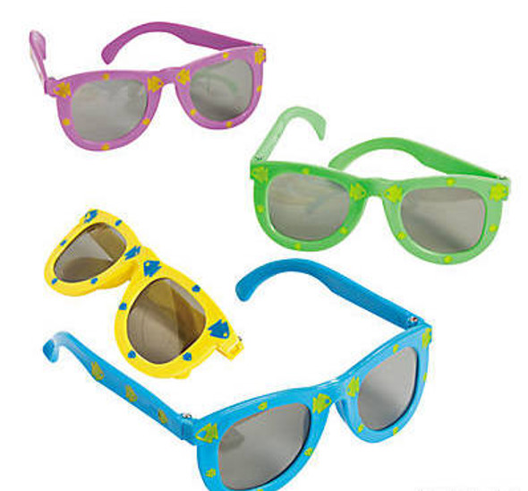 Kids Fish Print Sunglasses 12 PACK MIX Colors Party Favor Quality Ages 3-9 | 383