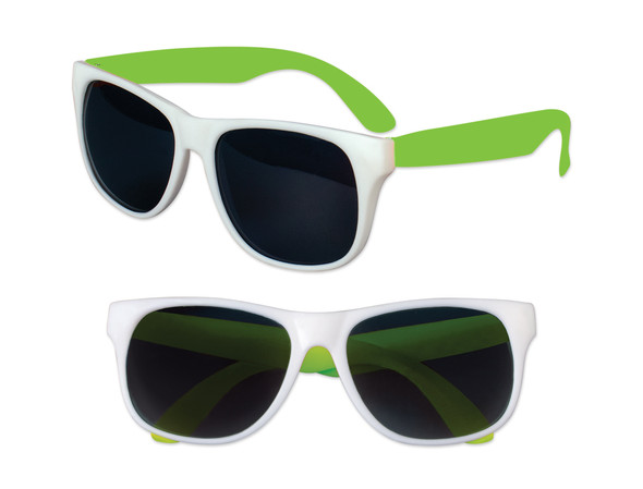 White Sunglasses Green Legs 12 PACK Party Favor Quality 414