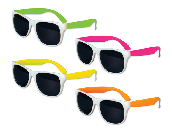 White Sunglasses Mixed Color Legs 12 PACK Party Favor Quality 422