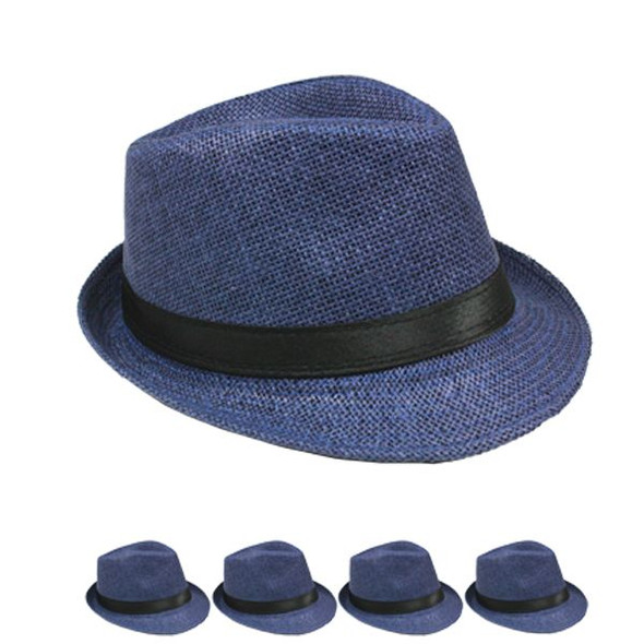 12 PACK Blue Fedoras | Blue Hats | Cuban Fedoras 1329D Adult Size