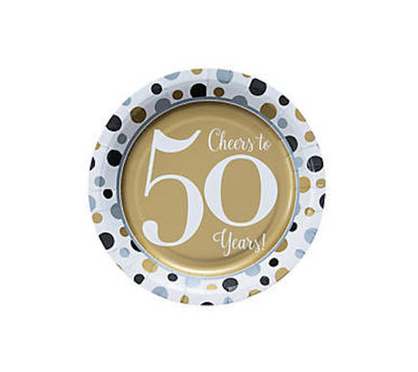 50's Birthday Dessert Plates for 50th Celebration 8 PACK 38197