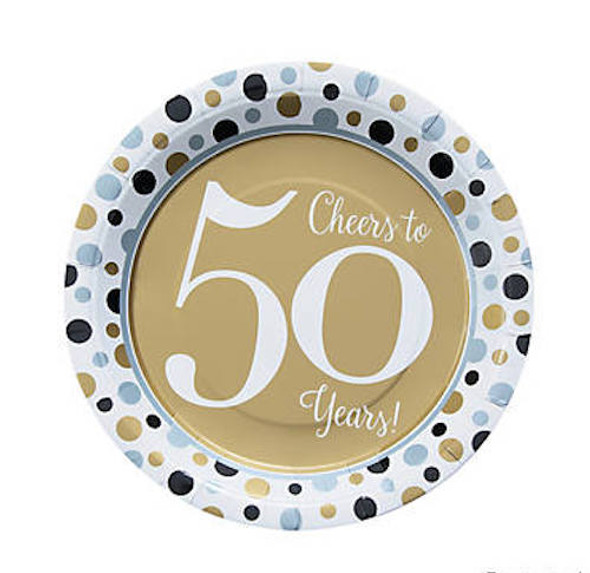 50's Birthday Dinner Plates for 50th Celebration 8 PACK 38198