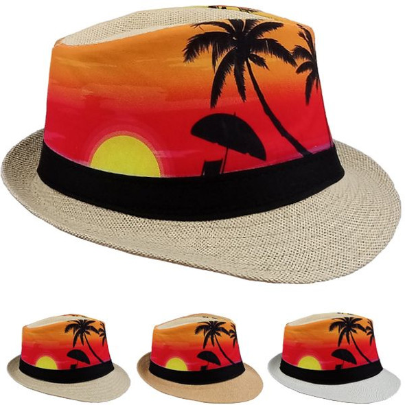 12 PACK Palm Tree Sunset Fedoras 1310PA Adult Size