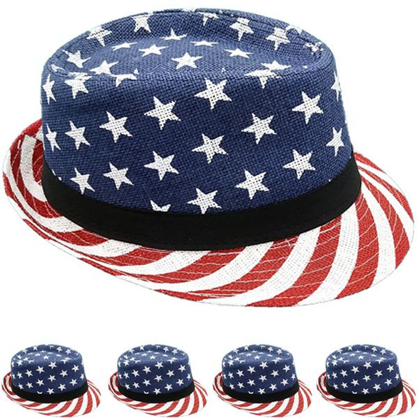 12 PACK USA American Flag Fedoras 1310US Adult Size
