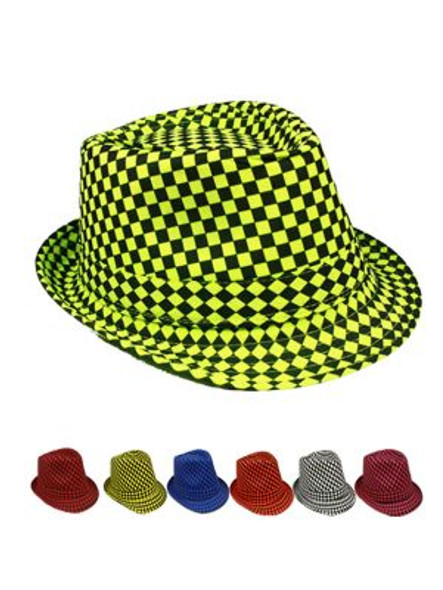 12 PACK Checkered Fedora Hats Colorful Mixed  1310MC Adult Size