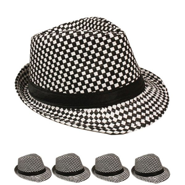 12 PACK Checkered Fedora Hats Black/White  1310BW Adult Size