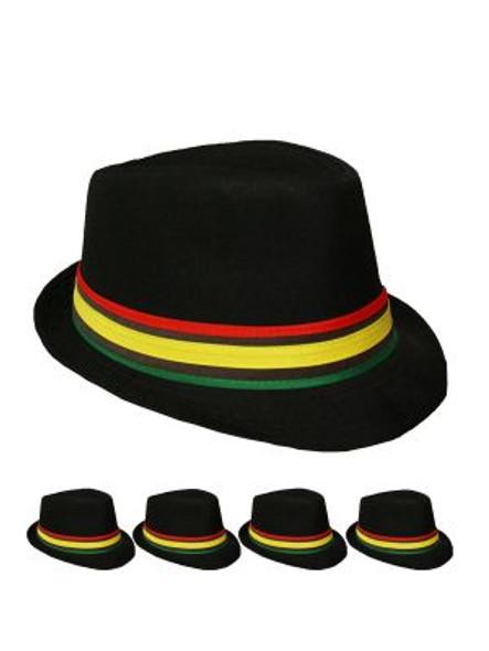 12 PACK Rasta Fedora Hats  1310BW Adult Size