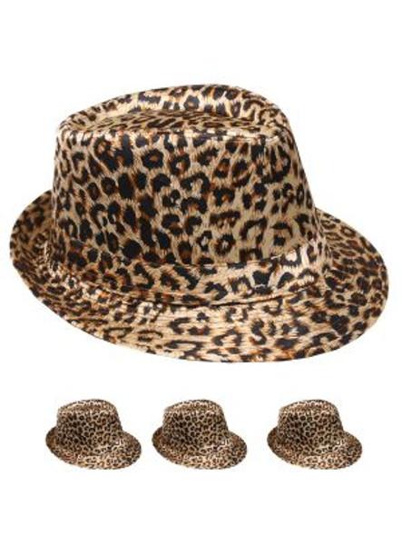 12 PACK Leopard Print Fedora Hats 1310LP Adult Size