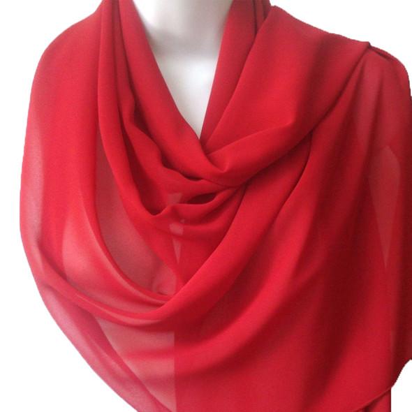 "Red Long Sheer Chiffon Scarf 12 PACK 21"" x 60"" 2133D"