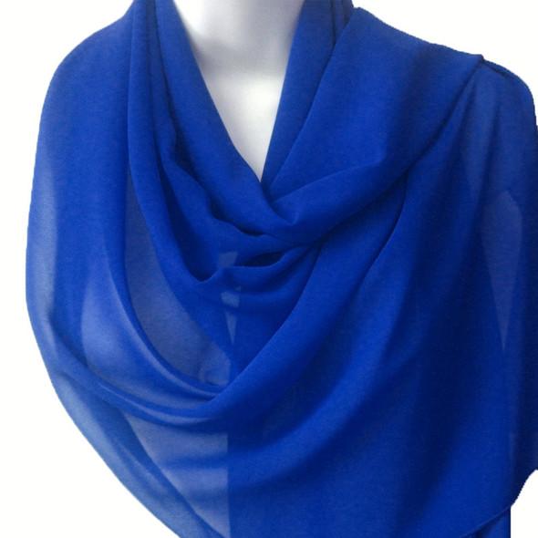 """Royal Blue Long Sheer Chiffon Scarf 12 PACK  21"""" x 60""""  2134D"""