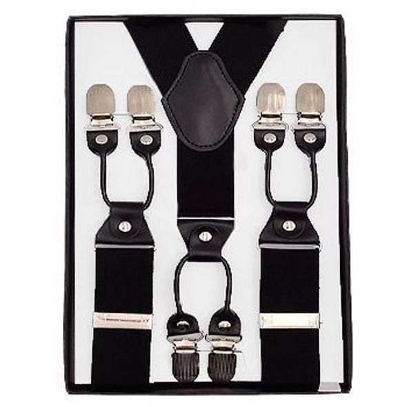 "Black Industrial Suspenders | Adjustable up to 80"" 15034B"