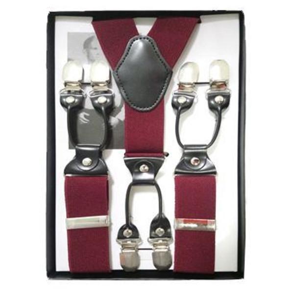 """Burgundy Industrial Suspenders   Adjustable up to 80"""" 15034BUR"""