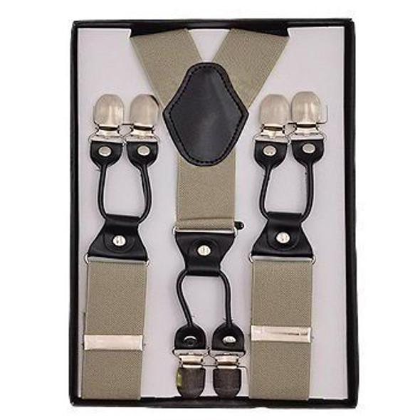 "Khaki Industrial Suspenders | Adjustable up to 60"" 15034K"