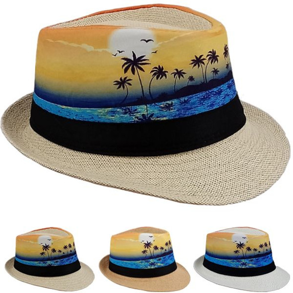 12 PACK Palm Tree Yellow Sunset Fedoras 1310PY Adult Size