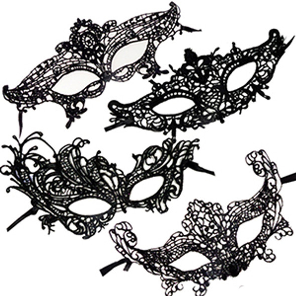 12 PACK Mardi Gras Venetian Black Mask Die Cut 1847JO