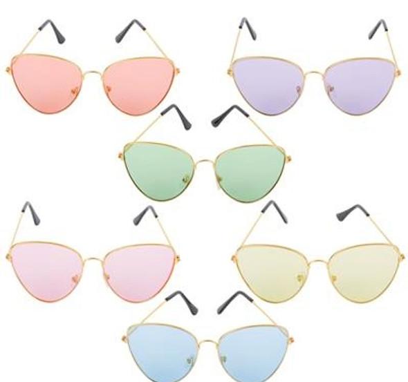 Gold Cat Eye Glasses Neon Color Lenses Mixed 12 PACK 70811