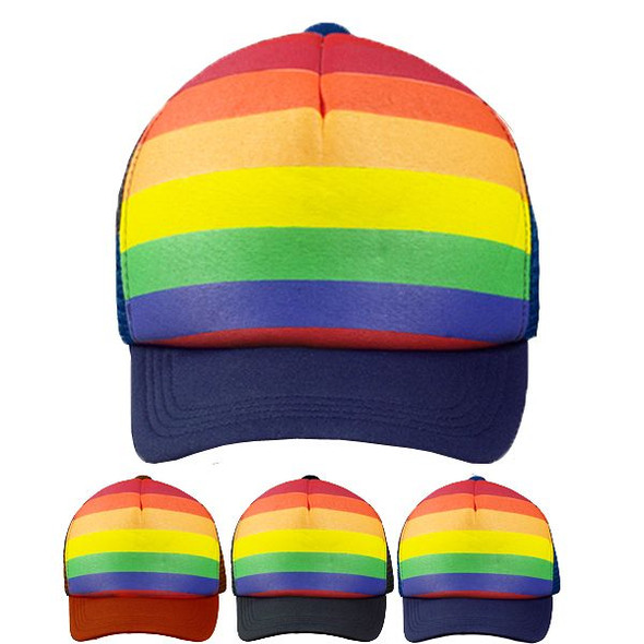 12 PACK Rainbow Trucker Caps Adjustable 1457RAIN