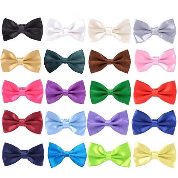 "12 PACK Kids Satin Bow Ties 20+ Colors 2.75"" W 6838CH"