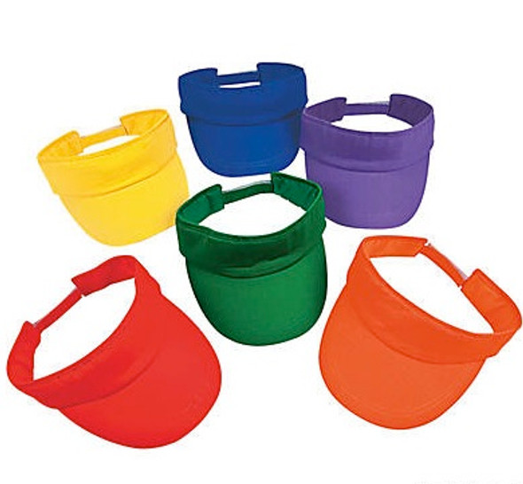 Mixed Colors Visor Adjustable Cotton Tennis Visors for Sports 12 PACK 58111D