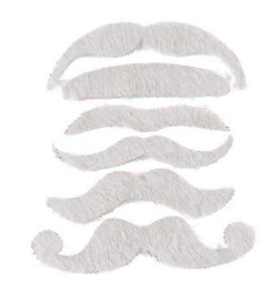 White Mustaches | Stick on Mustaches |  12 PACK 1693WH