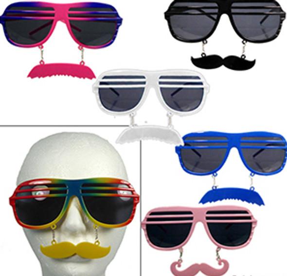 Mustache Shutter Shades Mustache Adult Sunglasses Mixed 12 Pack 7119M