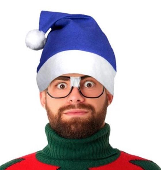"Blue Santa Hats Bulk Classic Felt 12 PACK 22.5"" Standard Adult SIze1512B"