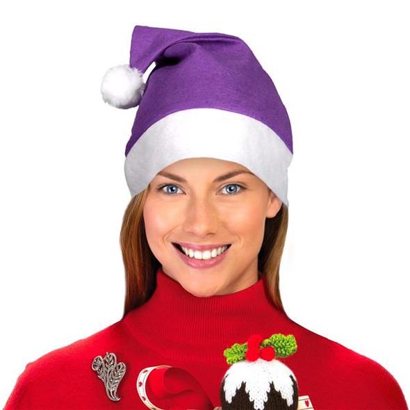 "Purple Santa Hats Bulk Classic Felt 12 PACK 22.5"" Standard Adult SIze 1512P"