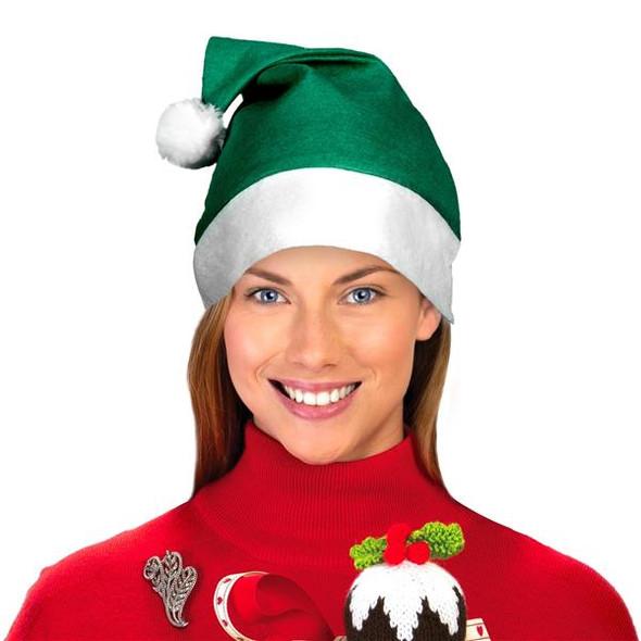 "Green Santa Hats Bulk Classic Felt 12 PACK 22.5"" Standard Adult SIze 1512G"