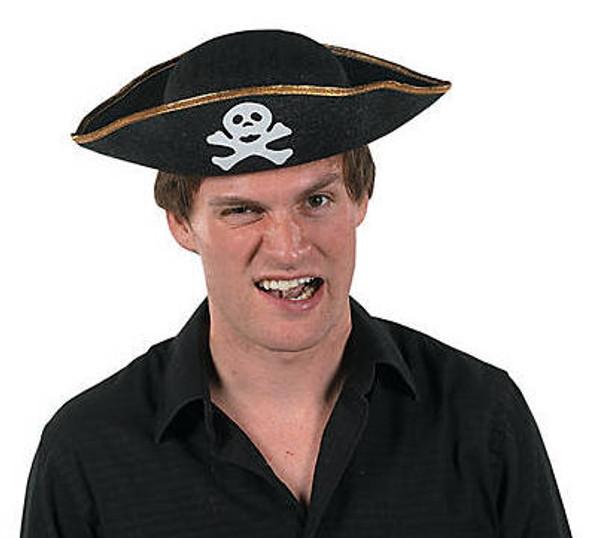"Pirate Hat Bulk   Adult Size Felt 22.5"" 12 PACK  1563A"