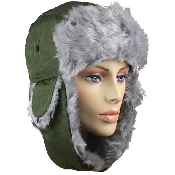 12 PACK Olive Trapper Hat | Grey Faux Fur 5831OD