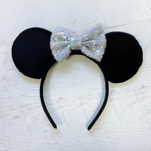 Shiny Sparkle Silver Sequin Bow Disney Minnie Ears Headband