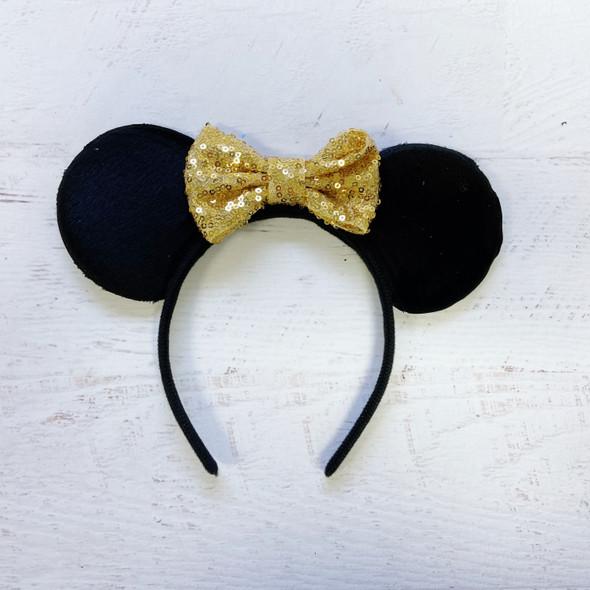 Shiny Gold Sequin Bow Disney Minnie Ears Headband