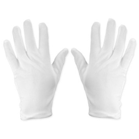 Adult Dress Gloves White Nylon 8-12 5044A 12 PACK