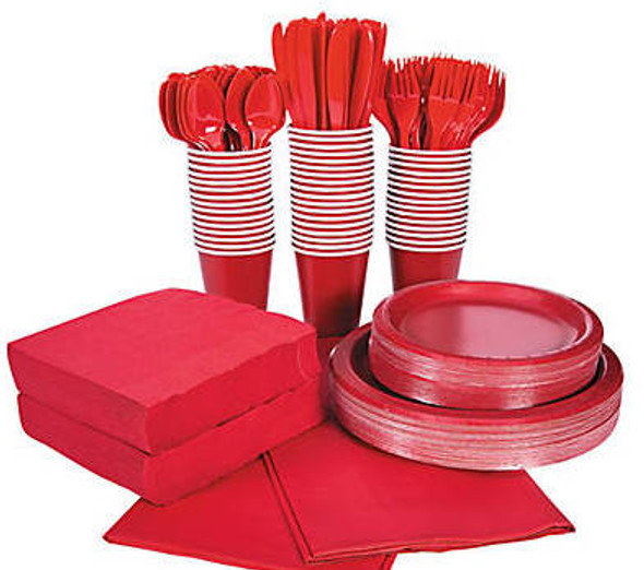 Red Tableware Party COMPLETE Pack for 48 | 386812