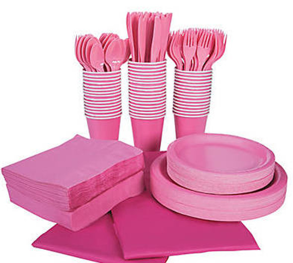 Candy Pink Tableware Party COMPLETE Pack for 48 | 386813