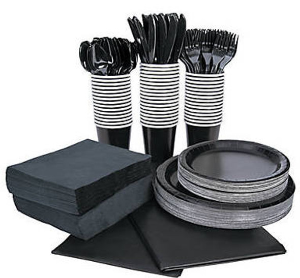 Black Tableware Party COMPLETE Pack for 48 | 386814