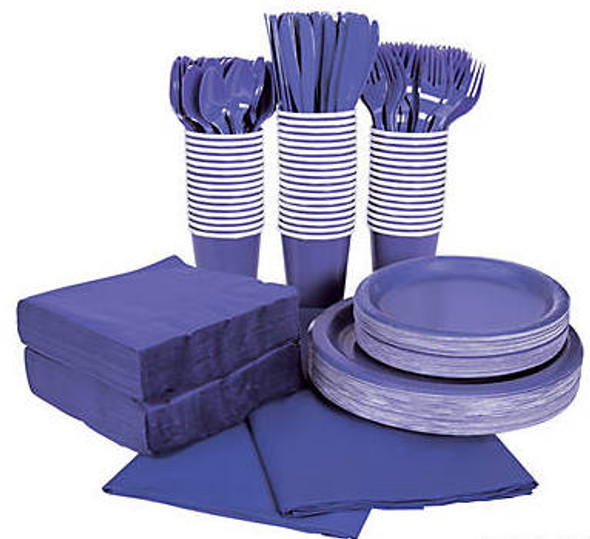 Purple Tableware Party COMPLETE Pack for 48 | 386816