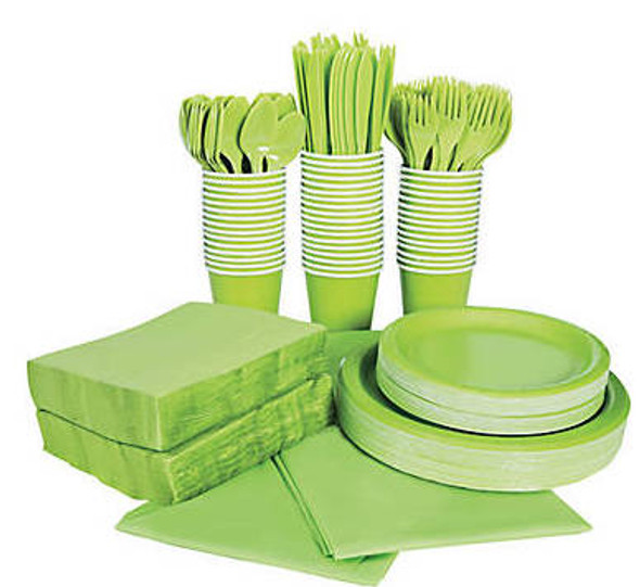Lime Green Tableware Party COMPLETE Pack for 48 | 386817