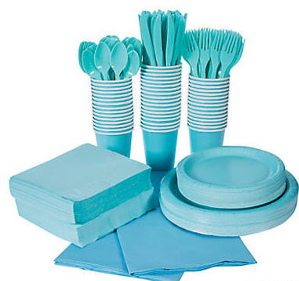Light Blue Tableware Party COMPLETE Pack for 48 | 386818