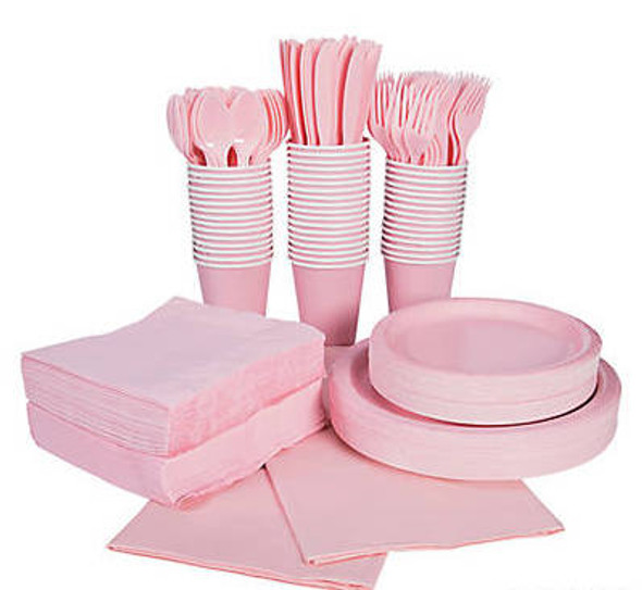 Light Pink Tableware Party COMPLETE Pack for 48 | 386819