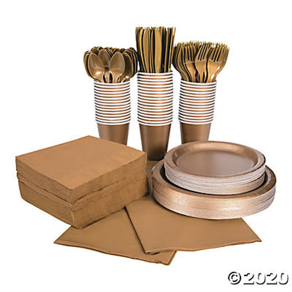 Metallic Gold Tableware Party COMPLETE Pack for 48 | 386820