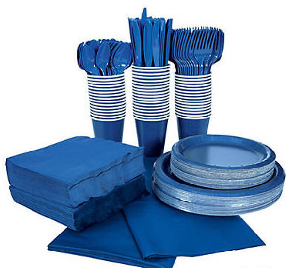 Navy Blue Tableware Party COMPLETE Pack for 48 | 386822