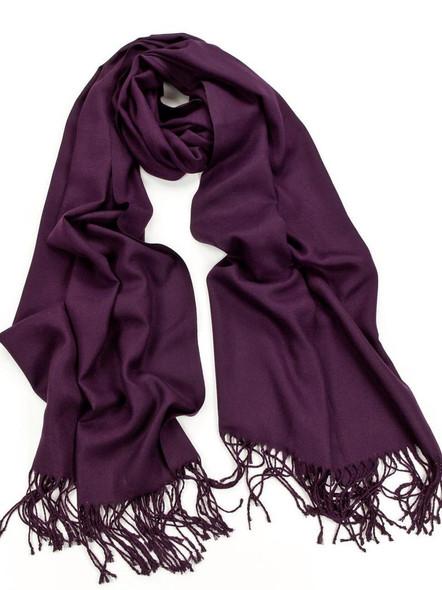 Dark Purple Pashmina Shawl 100% Fine Wool Mix  12 PACK 21110