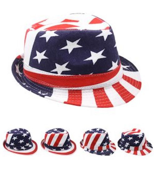 12 PACK USA American Flag Fedoras Straw 1310SUS Adult Size