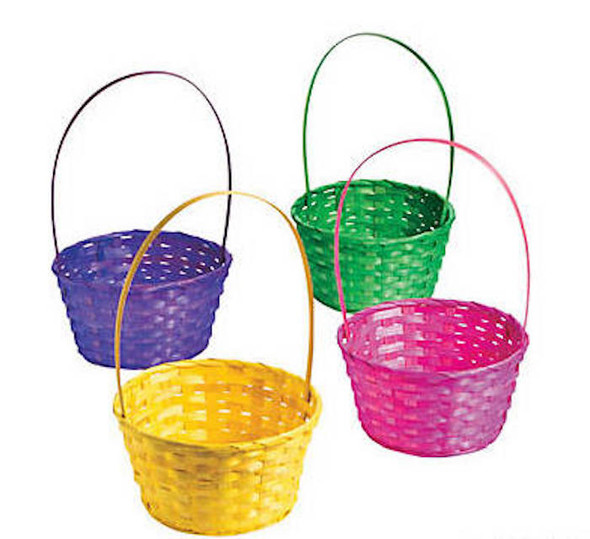 "Large Easter Baskets  | Round Multicolor Bamboo 5"" Tall by 9"" Wide  12 PACK 3938L"