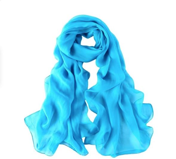 """Turquiose Blue Long Sheer Chiffon Scarf 12 PACK  21"""" x 60"""" 2134TU"""