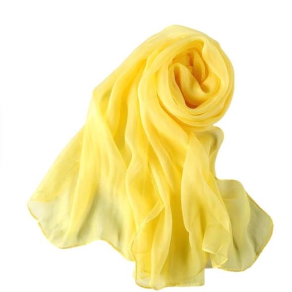 """Yellow Long Sheer Chiffon Scarf 12 PACK  21"""" x 60"""" 2134YE"""